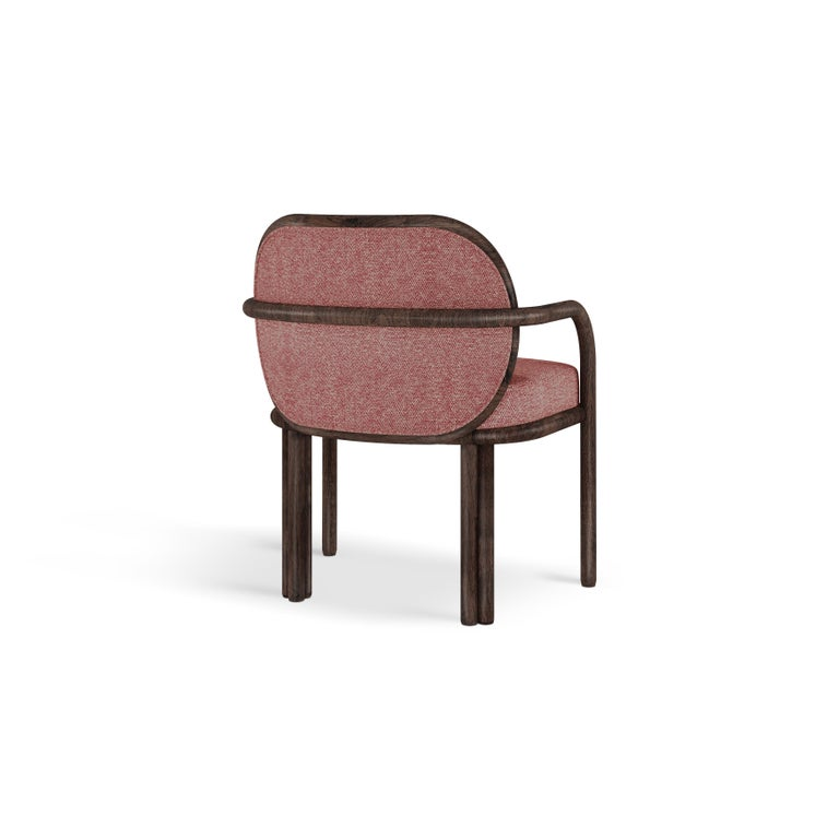 21st Century Walnut Wood James Dining Chair Linen In New Condition For Sale In RIO TINTO, PT