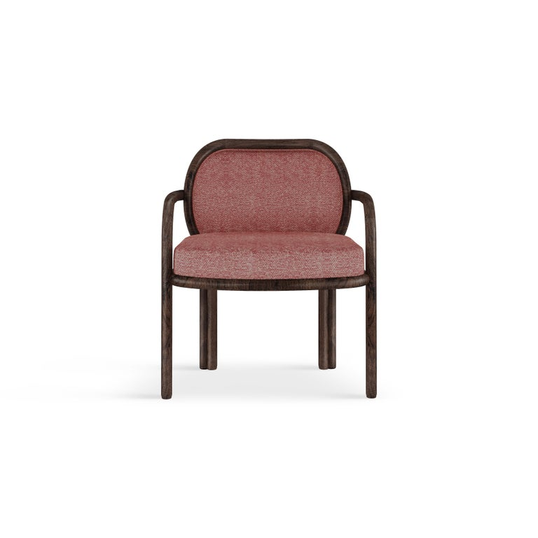 Contemporary 21st Century Walnut Wood James Dining Chair Linen For Sale