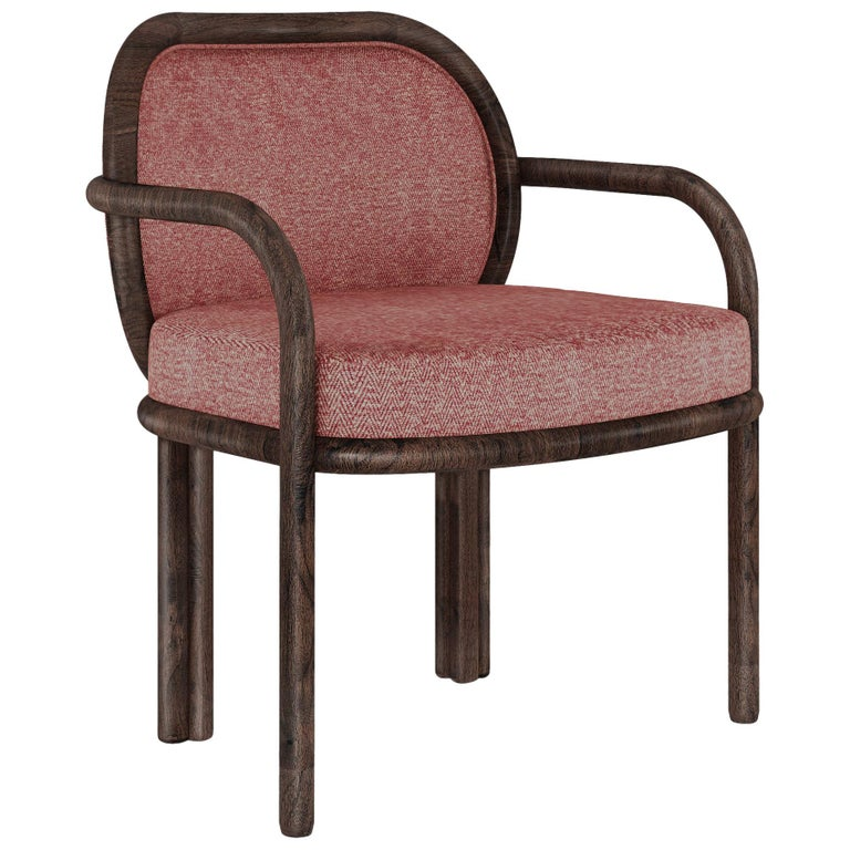 21st Century Walnut Wood James Dining Chair Linen For Sale