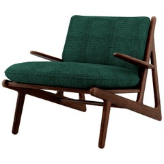 21st Century Walnut Wood Moore Armchair Linen