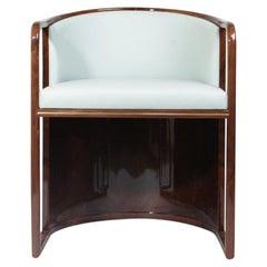21st Century Walnut Wood Ridge Dining Chair Genuine Leather