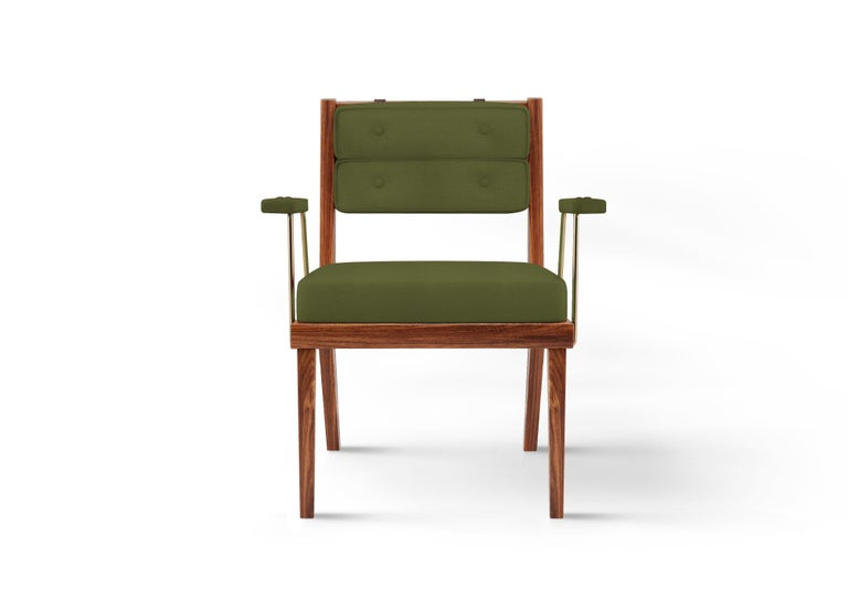 Portuguese 21st Century Walnut Wood Robinson Dining Chair Linen For Sale