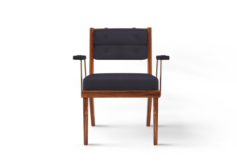 21st Century Walnut Wood Robinson Dining Chair Linen In New Condition For Sale In RIO TINTO, PT