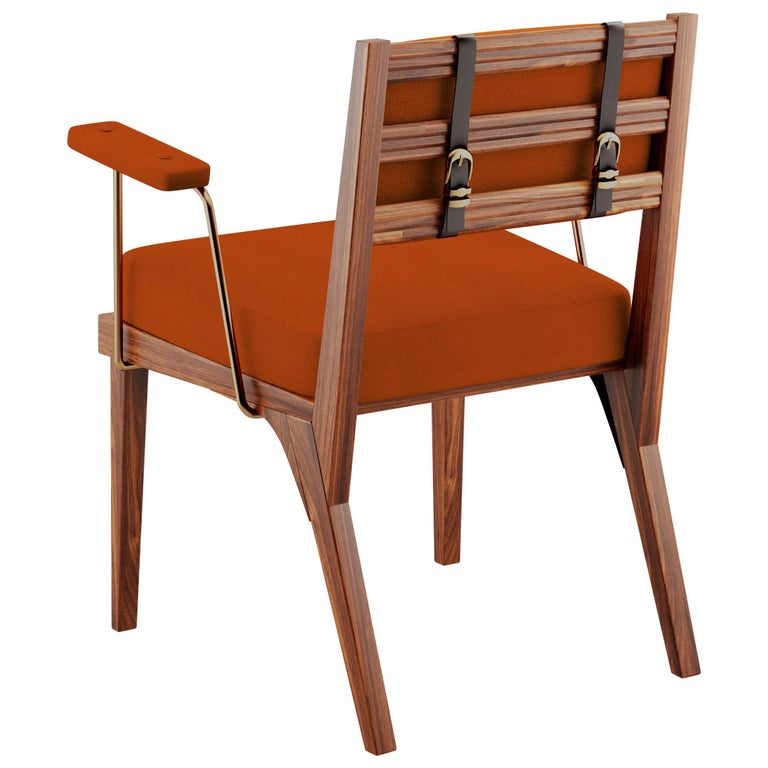 21st Century Walnut Wood Robinson Dining Chair Linen For Sale