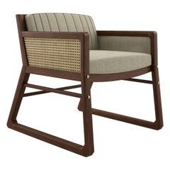 21st Century Walnut Wood William Armchair Linen