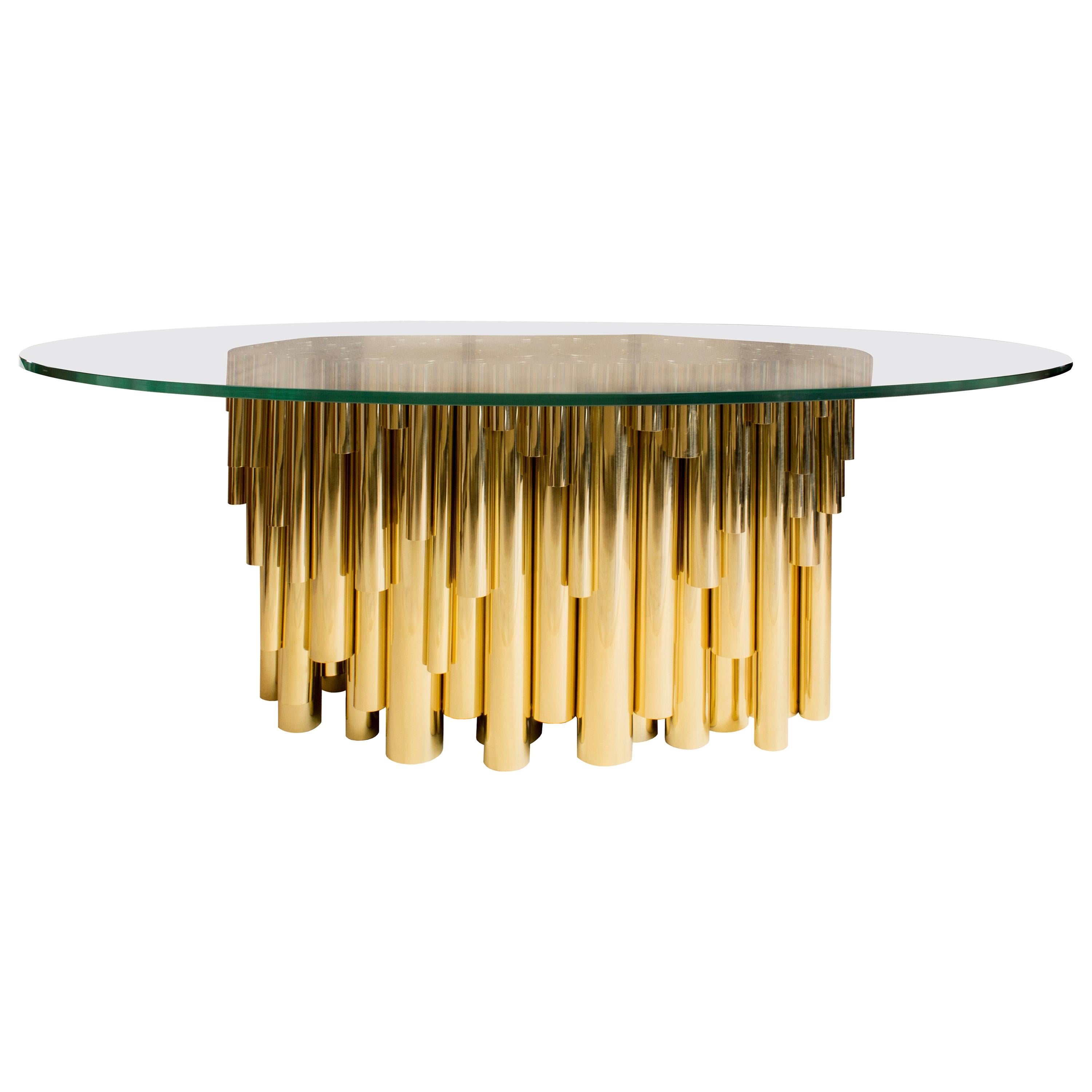 21st Century Wanderlust Dining Table Gold Plated Brass Pipes