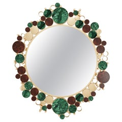 21st Century Wanderlust Mirror Marble Walnut Wood Root Polished Brass
