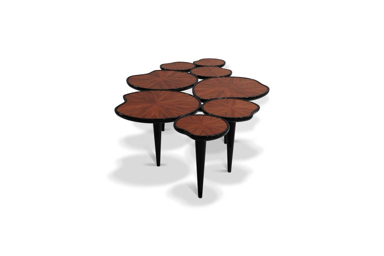 Portuguese 21st Century Waterlily Center Table Walnut Wood Lacquered Legs For Sale