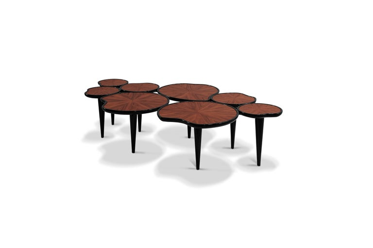 21st Century Waterlily Center Table Walnut Wood Lacquered Legs In New Condition For Sale In RIO TINTO, PT