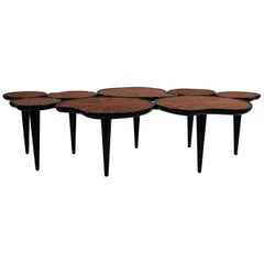 21st Century Waterlily Center Table Walnut Wood Lacquered Legs