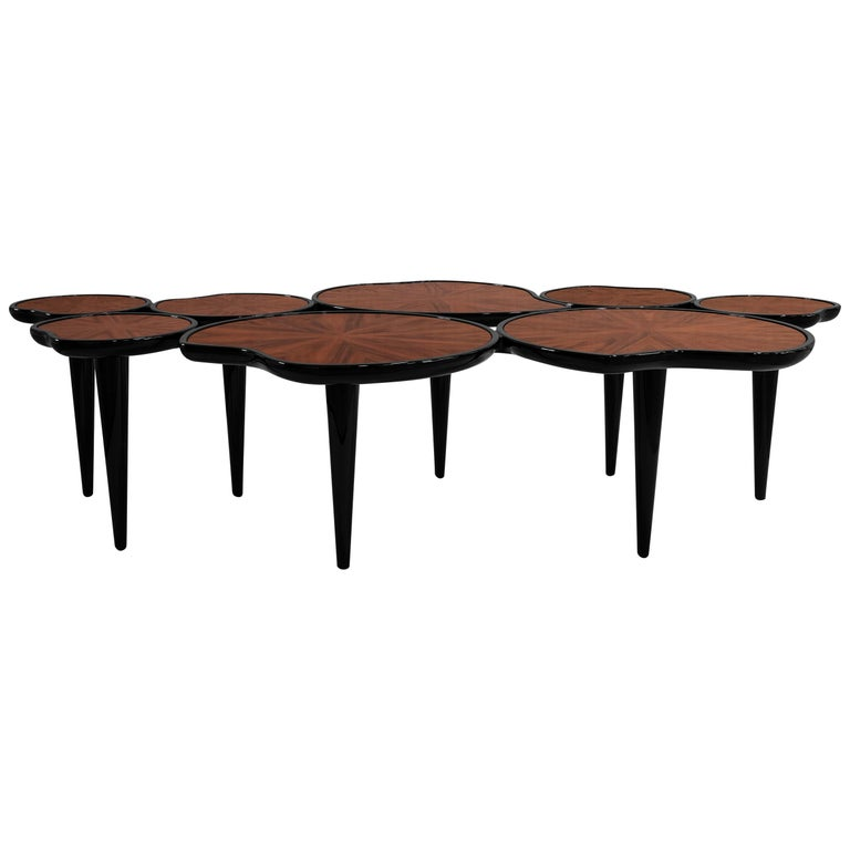 21st Century Waterlily Center Table Walnut Wood Lacquered Legs For Sale