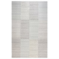 21st Century White and Gray Flat-Weave Wool Rug