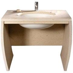 21st Century White Carrara Bardiglio Perla Sand Beach Consolle Marble Washbasin