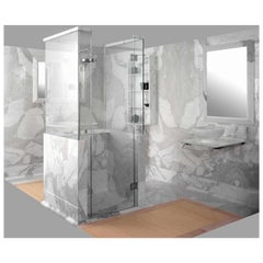 21St Century White Carrara and Calacatta Gold Marble Shower Cabin Caracalla