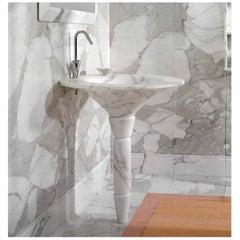 21st Century White Carrara & Calacatta Gold Marble Washbasin Grancaracalla