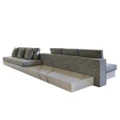 21st Century White Carrara Infinity Marble Modular Sofa System Custom Cushions