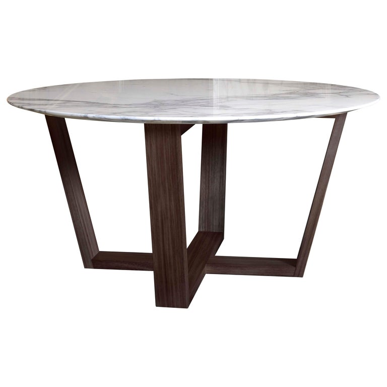 21st Century White Carrara Marble Teakwood Round Basket Outdoor Dining Table For Sale