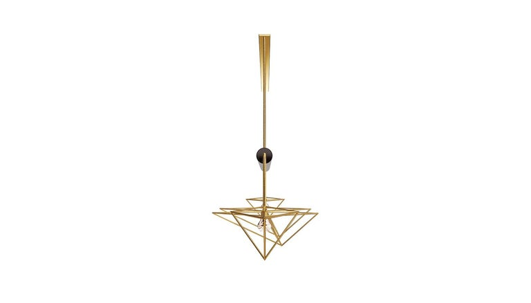 Brushed 21st Century White House Suspension Lamp Marquina Marble For Sale