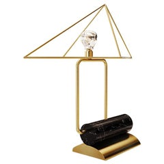 21st Century White House Table Lamp Negro Marquina and Brushed Brass
