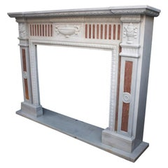 21st Century White Marble Fireplace Surround