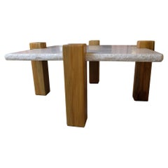 21st Century White Marble Top Coffee Table with Oak Notched Legs