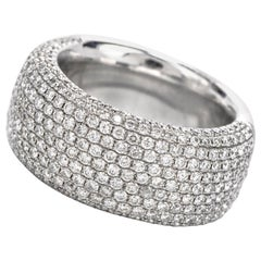 21st Century Wide Pave Round Diamond Cluster 18 Karat Gold Band Ring