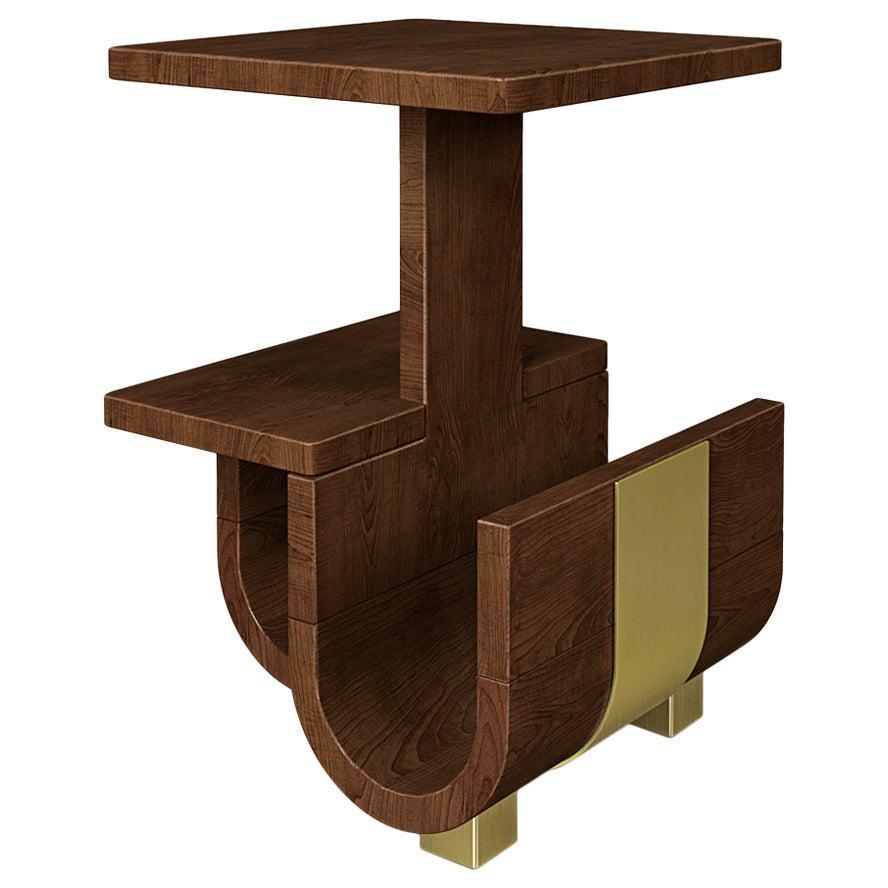 21st Century Wodehouse Wooden Side Table Walnut Wood Polished Brass