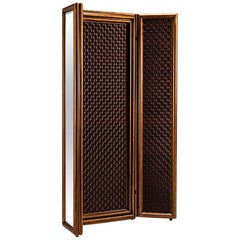 21st Century Wood 3-Panel Mirrored Partition Screen Weave Pattern