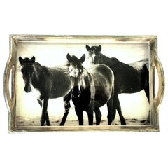 """21st Century Wood and Glass Handle """"Horse"""" Tray"""
