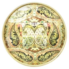 21st Century Wood and Printed Linen Round Handled Lazy Susan Center Tray