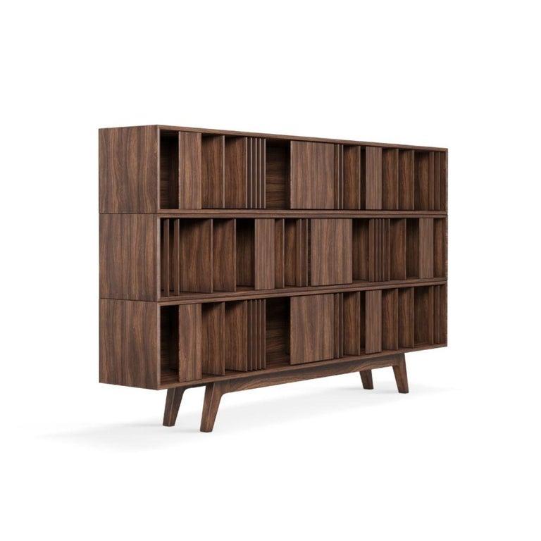 Portuguese 21st Century Wordsworth Bookcase Walnut Wood For Sale
