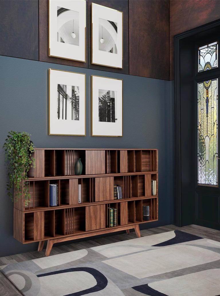 Varnished 21st Century Wordsworth Bookcase Walnut Wood For Sale