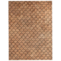 21st Century Woven Jute Carpet Rug in Natural Color and Black Shells