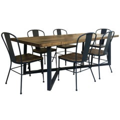 21st Century Wrought Iron Set of Patio Dining Table & Chairs. Indoor & Outdoor