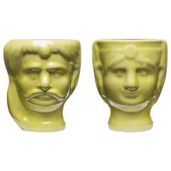 21st Century, Yellow Ceramic Vase Handmade Hand decorated Made in Italy 1 Piece