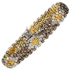 21st Century Yellow Champagne White Diamond 18K Snake Bracelet