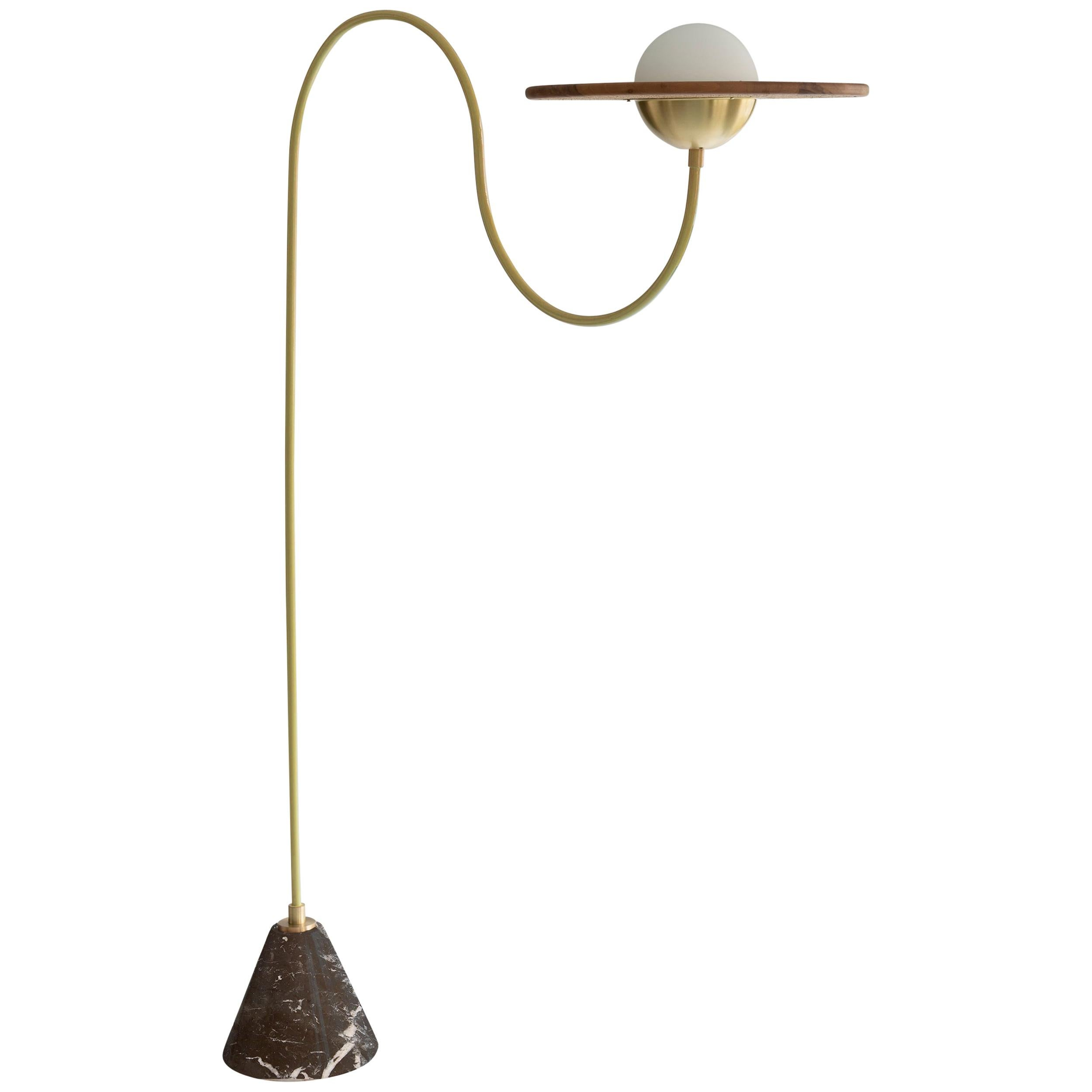 21st Century Yellow Floor Lamp with Cane, Black Marble and Brass