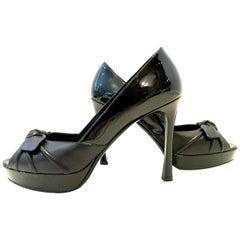 21st Century Yves Saint Laurent Paris Black Peep Toe Platform Shoes-Size 39
