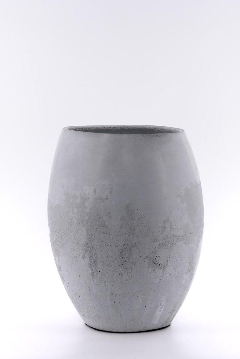 Molded 21st Century Zazen Collection Concrete Vase Dark Grey Color, Mod. II For Sale