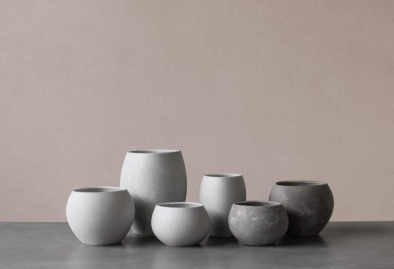 Cement 21st Century Zazen Collection Concrete Vase Dark Grey Color, Mod. II For Sale