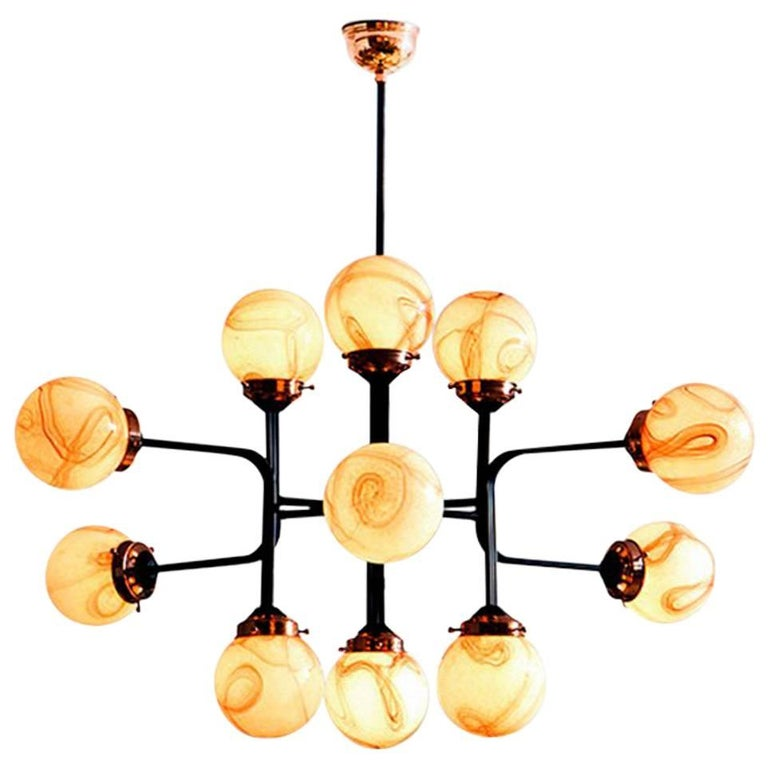 21st Century Ziron Handblown Glass Chandelier with Black Painted Metal Copper For Sale