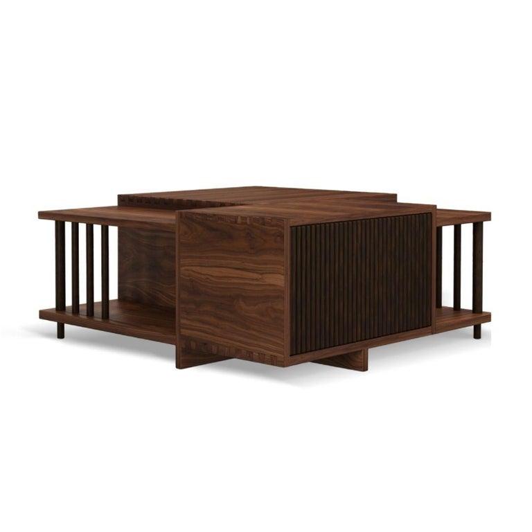 Portuguese 21st Century Douglas Center Table Walnut Wood For Sale