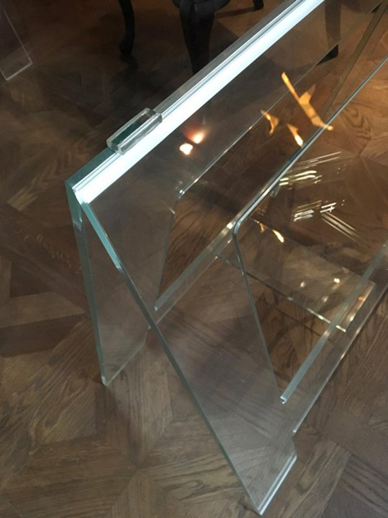 Contemporary Italian Design 21st Century Clear Crystal Desk or Dining Table For Sale