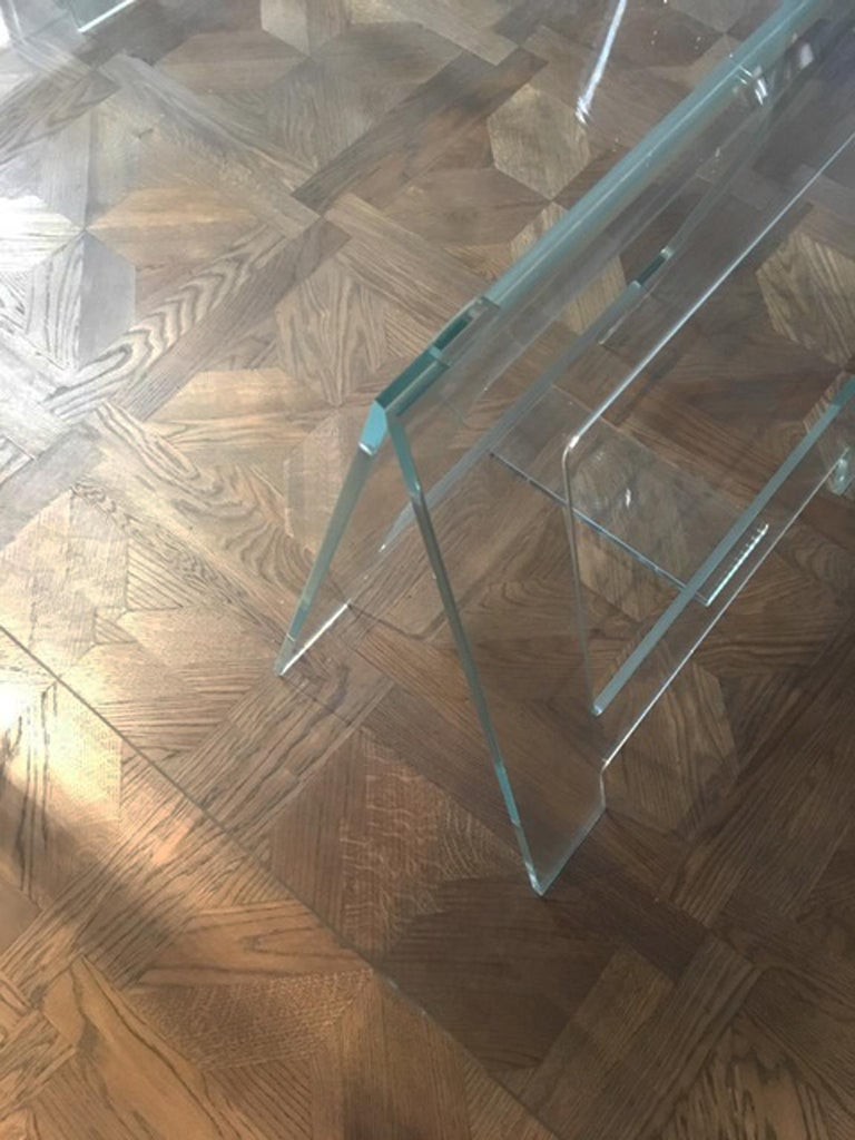 Italian Design 21st Century Clear Crystal Desk or Dining Table For Sale 9