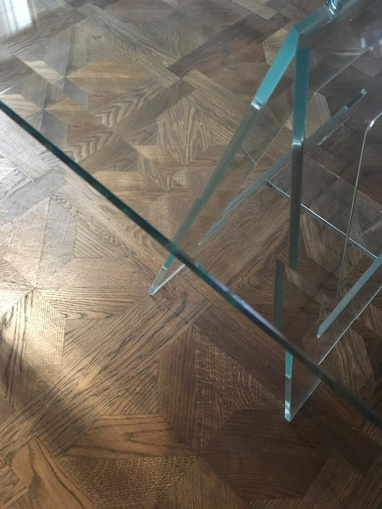 Italian Design 21st Century Clear Crystal Desk or Dining Table For Sale 10