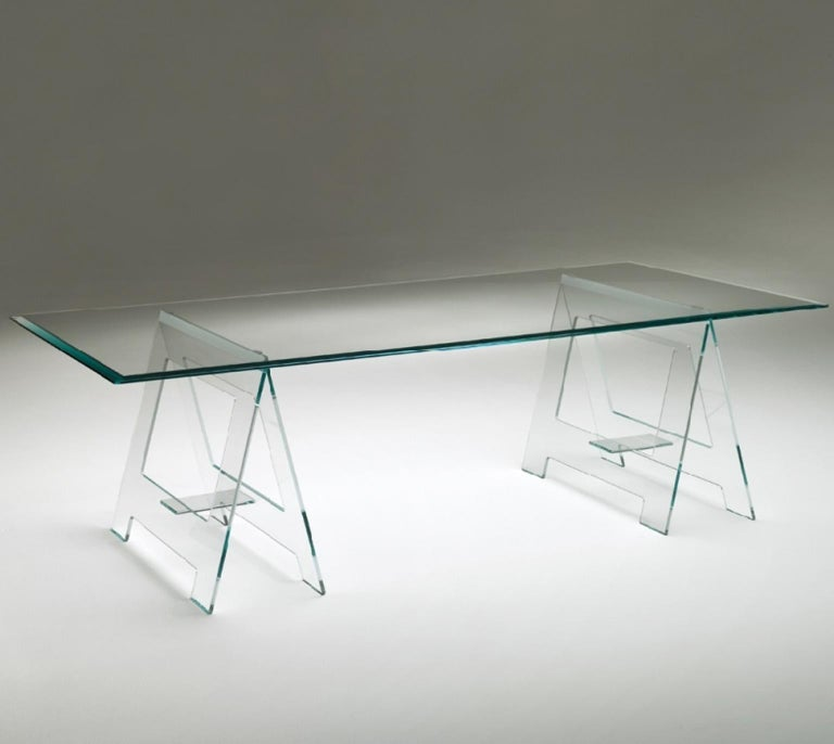 Modern Italian Design 21st Century Clear Crystal Desk or Dining Table For Sale