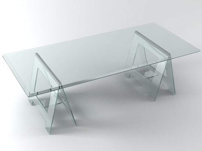 Italian Design 21st Century Clear Crystal Desk or Dining Table For Sale 3