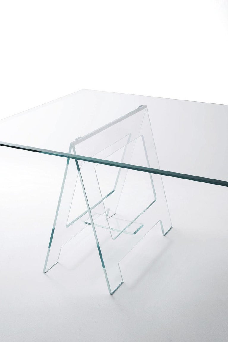 Italian Design 21st Century Clear Crystal Desk or Dining Table For Sale 4