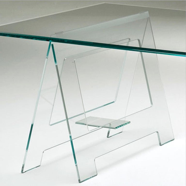 Italian Design 21st Century Clear Crystal Desk or Dining Table For Sale 5