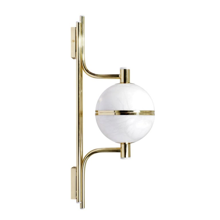 Contemporary 21th Century Alabaster Andros Wall Lamp Brass Designed by Creativemary For Sale